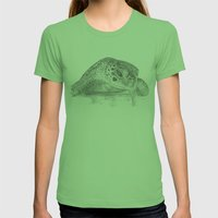 A Green Sea Turtle :: Grayscale Womens Fitted Tee Grass SMALL