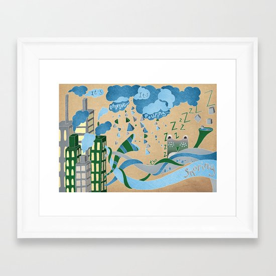 It's Raining its pouring Framed Art Print