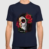 Candy Skull beauty Mens Fitted Tee Navy SMALL