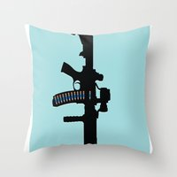 Art not War - Blue Throw Pillow