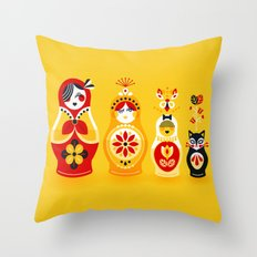 Russian Nesting Dolls – Yellow & Red Throw Pillow