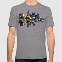 Melbourne Night View Mens Fitted Tee Tri-Grey SMALL