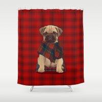 The Plaid Poncho'ed Pug Shower Curtain