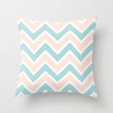 PEACH & BLUE CHEVRON 2 Throw Pillow