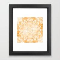 TANGERINE BOHO FLOWER MA… Framed Art Print
