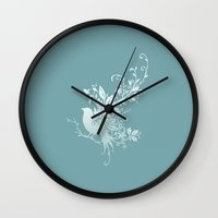 Flower Bird Wall Clock