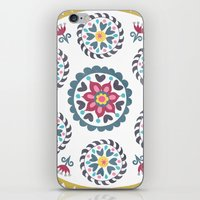 Suzani inspired floral blue 3 iPhone & iPod Skin