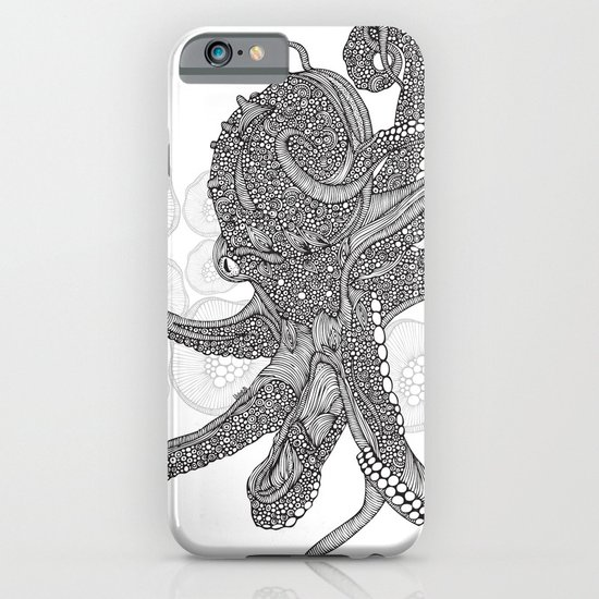 Octopus Bloom black and white iPhone & iPod Case
