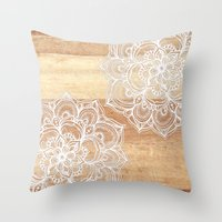White doodles on blonde wood - neutral / nude colors Throw Pillow