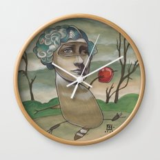 RED APPLE RACCOON Wall Clock