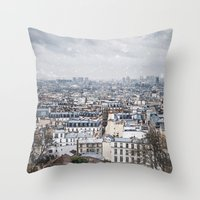 Snowy Paris Throw Pillow