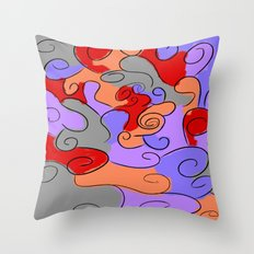 4-Colored Clouds Throw Pillow