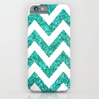 TEAL GLITTER CHEVRON iPhone 6 Slim Case