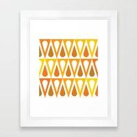 Orange curved triangle pattern Framed Art Print