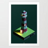 Lighthouse Night Art Print