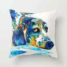 Colorful Beagle Dog Art By Sharon Cummings Throw Pillow