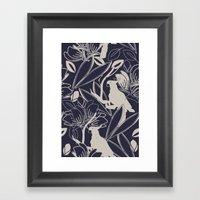 Cockatoo Evening Blue Framed Art Print