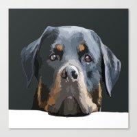 Rottweiler Portrait Vect… Canvas Print