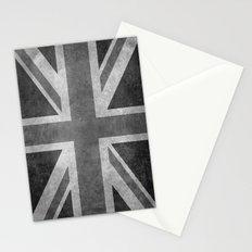 British Union Jack flag scale 1:2 BW retro grunge Stationery Cards