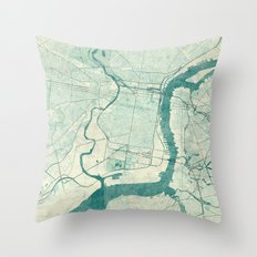 Philadelphia Map Blue Vi… Throw Pillow
