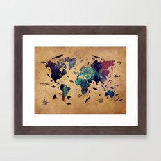 World map atlas Framed Art Print