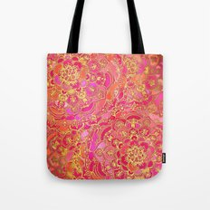 Hot Pink and Gold Baroque Floral Pattern Tote Bag