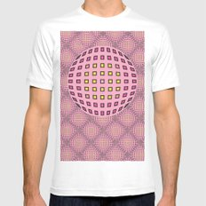 Pop pink SMALL Mens Fitted Tee White
