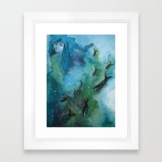 Fish In A Row Framed Art Print