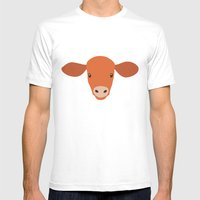 Cow-mor Orange Mens Fitted Tee White SMALL