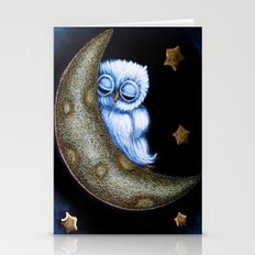 TINY BLUE OWL - SLEEPING IN THE MOON Stationery Cards