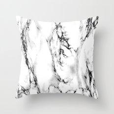 White-Black Marble Impress Throw Pillow