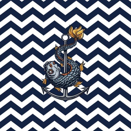 CHEVRON - Stay Anchored - Navy Blue Art Print