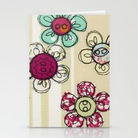 Embroidered Flower Illus… Stationery Cards