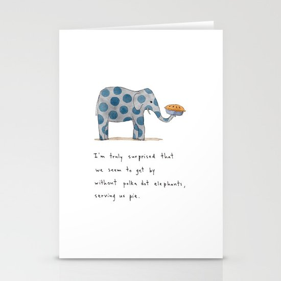 polka dot elephants serving us pie Stationery Card