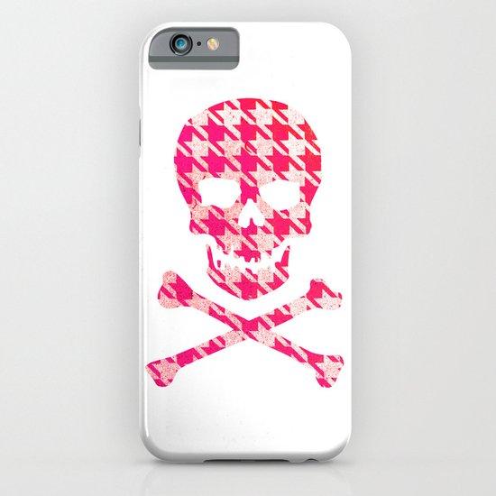 Hipster Sugar Skull Crossbones Pink Houndstooth iPhone & iPod Case