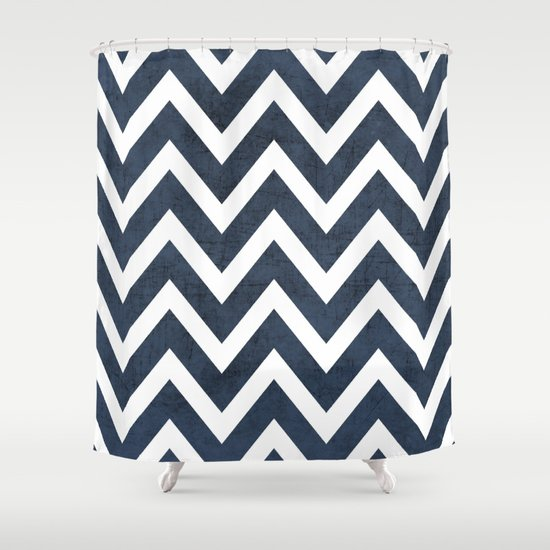 navy chevron shower curtain by her art society6