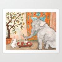 Tea with Elephant Art Print