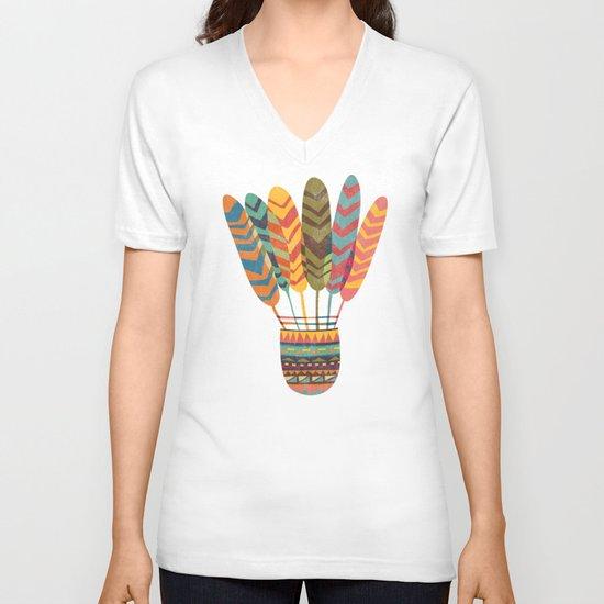 Rustic shuttlecock V-neck T-shirt