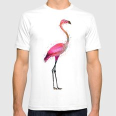 Pink Flamingo White SMALL Mens Fitted Tee