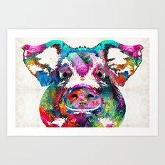 Colorful Pig Art - Squea… Art Print