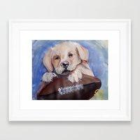 Puppy Touchdown Framed Art Print