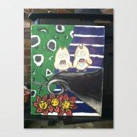 Canvas Print featuring insane owls by beansandjeremy