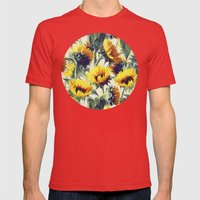Sunflowers Forever Mens Fitted Tee Red SMALL
