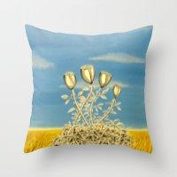 Silver Flowers on Golden Grass Throw Pillow