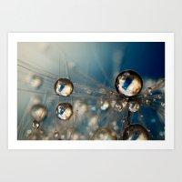 Royal Sea Blue Drops Art Print