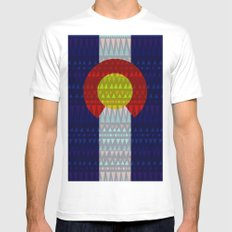 Colorado Flag/Geometric Mens Fitted Tee White SMALL