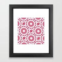 Ruby Mandala Tile Framed Art Print