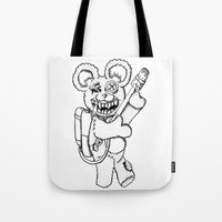 Teddy Rockin' the Flamethrower Tote Bag