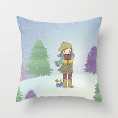 Girl and Dog in Snow Throw Pillow