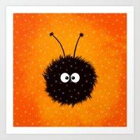 Orange Cute Dazzled Bug Winter Art Print